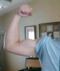 here are his super-human biceps. Rrrrr!