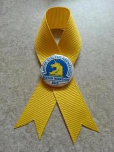 The ribbon we got to wear to show our love for all those affected by the bombings.