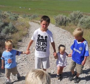 here's Kett a couple years ago, helping my kids on a hike.