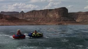 Everyone wanted a chance to go tubing with Azure. Here she is with Ace.