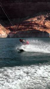 Adam wake boarding.