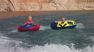 Ace and Aspen tubing. She was a little stressed. She gets it from me. I don't like tubing.