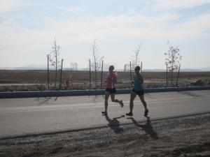 running with my friend.